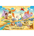 Savannah animal family with background vector image vector image