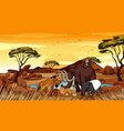 scene with many animals in savanna vector image vector image