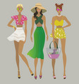 stylish summer girlsfashion models vector image