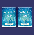 two winter posters with spruces vector image vector image
