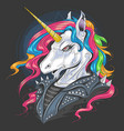 unicorn punk jacket rider with full colour rainbow vector image vector image