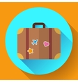 vintage Travel Suitcase icon with long vector image vector image
