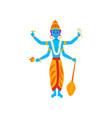 vishnu indian god guardian universe vector image vector image