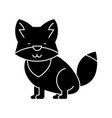 wolf cute icon black sign on vector image vector image