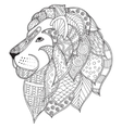 Hand drawn ornamental outline lion head vector image