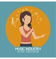 woman singing isolated icon design vector image