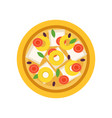 cartoon pizza with various ingredients tomatoes vector image