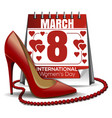 8 march card calendar with the date of march 8 vector image vector image