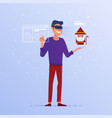 a caucasian man in vr headset playing online game vector image