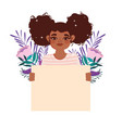 afro american girl curly hair and blank board vector image vector image