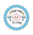 baby shower emblem to welcome a boy vector image