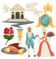 baroque epoche man and woman in wigs architecture vector image vector image