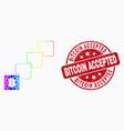 bright pixelated bitcoin blockchain icon vector image vector image