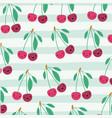 cherries kawaii fruits pattern set on decorative vector image