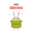 christmas card with cute rabbit isolated on white vector image vector image