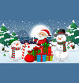 christmas night with santa and snowman vector image vector image