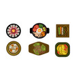 collection of served dishes set cooking healthy vector image vector image