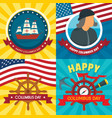 columbus day banner set flat style vector image