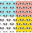 cute panda bear seamless patterns vector image vector image