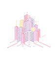 digital technology smart city with connecting vector image vector image