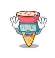 Diving ice cream tone character cartoon