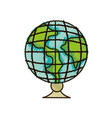 doodle global earth planet desk design to study vector image vector image