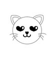 dotted shape enamored cat head cute animal vector image vector image