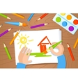 Drawing with pencil and paints vector image vector image