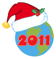 Earth with santa hat cartoon vector image vector image
