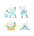 emoji sticker set icon baby robot toy cute small vector image