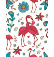 flamingo couple kissing colorful seamless pattern vector image vector image