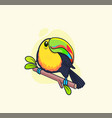 funny colorful toucan sitting on branch vector image
