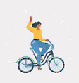 girl rides bike vector image