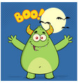 happy horned green monster vector image vector image