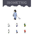isometric person set of guy medic hostess and vector image vector image