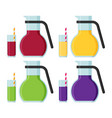 jug and a glass of juice flat set vector image