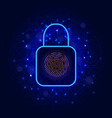 lock symbol and biometric fingerprint scanner for vector image vector image