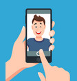 man taking smartphone selfie portrait touching vector image vector image