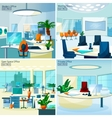 Modern Office Interiors 2x2 Design Concept vector image vector image