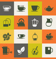 multicolor tea icons set vector image vector image