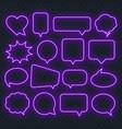 neon purple speech bubble frame on a transparent vector image vector image