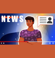 news on blog channel male journalist keeps his vector image vector image
