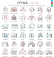 office color flat line outline icons vector image