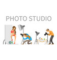 photographer and model in swimsuit in photo studio vector image vector image