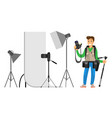 photographers taking picture with photo equipment vector image vector image