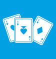 playing cards icon white vector image vector image