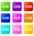Repair data icons set 9 color collection