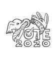republican elephant and democratic donkey in vector image vector image
