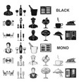 restaurant and bar black icons in set collection vector image