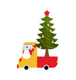 santa claus in truck with tree holiday car new vector image vector image